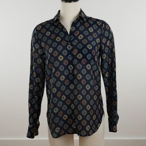 J Crew Talitha Popover Blouse Feather Paisley Silk